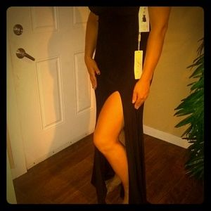 Long Black dress with beautiful gold detail